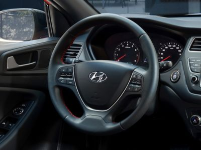 The sporty steering wheel on the new Hyundai i20 Active with ergonomic controls.