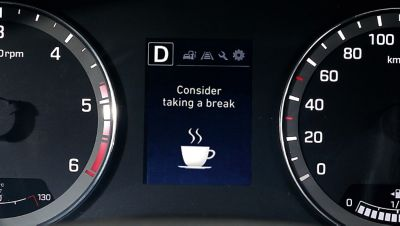 Photo showing the Driver Attention Warning on the new Hyundai i20 Active.