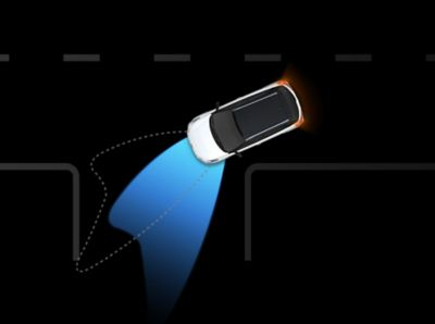Graphic illustrating the Static Bending Lights in action on the new Hyundai i20 Active.