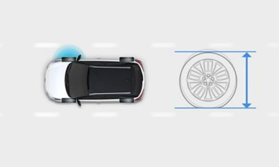 Graphic showing the Tire Pressure Monitoring System on the new Hyundai i20 Active.