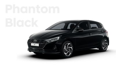 Extérieur de la Hyundai i20 en Phantom Black.