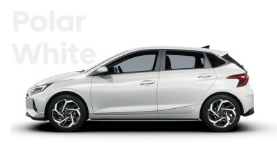 Left side view of the all-new Hyundai i20, Polar White colour scheme