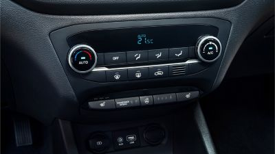 Photo of the air conditioning controls on the new Hyundai i20.