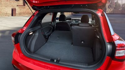 The 60:40 folding seats on the new Hyundai i20 can be folded completely flat.