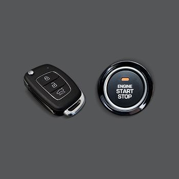 The smart key and simple engine start button on the new Hyundai i20.