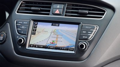 Photo of the navigation system screen on the new Hyundai i20.