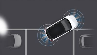 Graphic illustrating the front & rear parking assist system of the new Hyundai i20.
