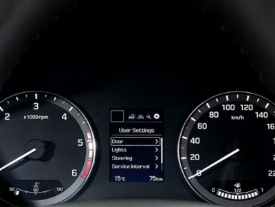 The supervision cluster on the new Hyundai i20.