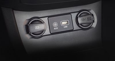 Photo of the USB port and AUX in on the new Hyundai i20.