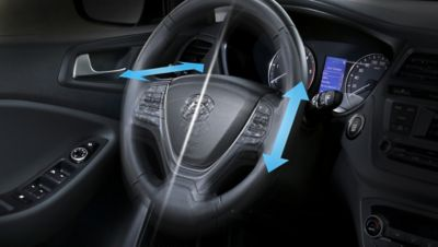 The steering column on the new Hyundai i20 is fully customisable.