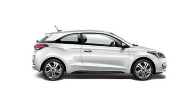 The Hyundai i20 Coupe, seen from the side.