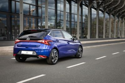 Right-side rear view of the all-new Hyundai i20 on the road