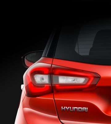 The rear lamps on the new Hyundai i20.