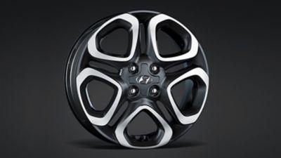 The alloy wheels on the new Hyundai i20.