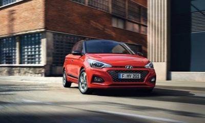 The new Hyundai i20 taking a turn.