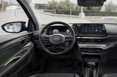 "Close-up of the all-new Hyundai i20 steering wheel and 10.25"" touchscreen"