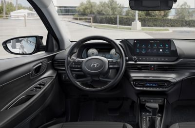 """Close-up of the all-new Hyundai i20 steering wheel and 10.25"""" touchscreen"""