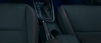 The iconic red stitching across the interior of the Hyundai i20 N Line.