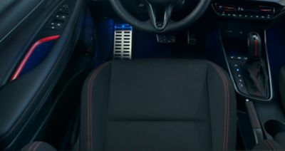 A close-up of the N-branded sporty seats inside of the Hyundai i20 N Line.