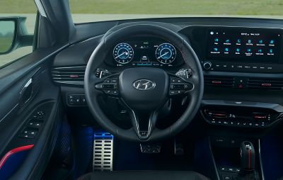 The leather steering wheel of the all-new Hyundai i20 N Line.