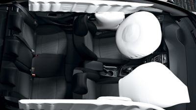 Photo showing the different airbags on the new Hyundai i20.