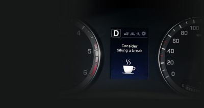 Graphic showing the Driver Attention Warning on the new Hyundai i20.