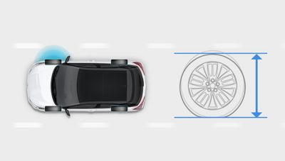 Graphic showing the Tire Pressure Monitoring System on the new Hyundai i20.