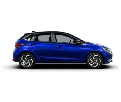 The all-new Hyundai i20 in Intense Blue with a Phantom Black roof, right side view