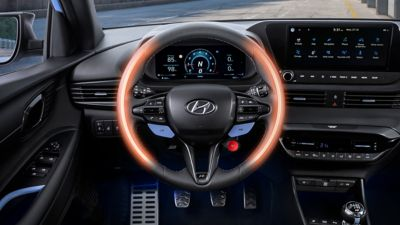 An image of the heated N steering wheel in the all-new Hyundai i20 N.