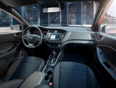 The sporty interior of the Hyundai i20 Coupe.