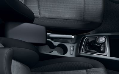 Close up view of the two front cup-holders in the Hyundai i20 Coupe.