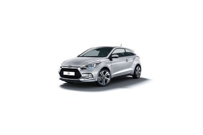 The Hyundai i20 Coupe seen from the side.