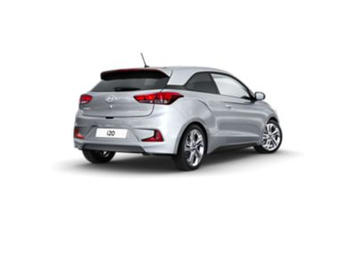 The Hyundai i20 Coupe, pictured from the rear and side.
