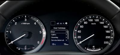 Close up view of the supervision cluster and speedometer in the Hyundai i20 Coupe.