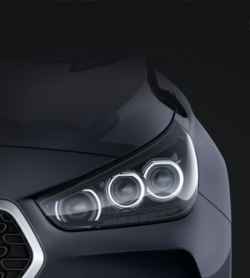 Close up view of the advanced LED headlamps in the new Hyundai i30 Fastback.