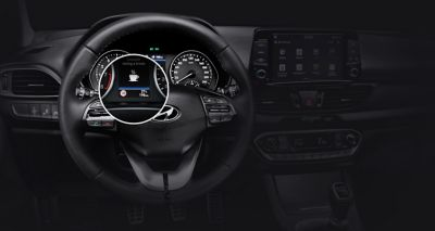 Close up image of the Intelligent Speed Limit Warning in the Hyundai i30 Fastback.