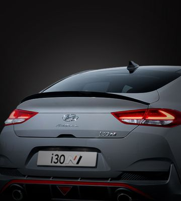 The Hyundai i30 Fastback N pictured from the rear.