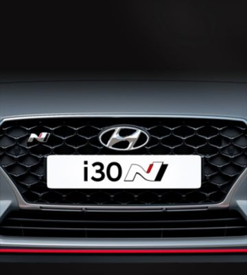 i30 Fastback N pictured from the front with Hyundai's Cascading Grille.