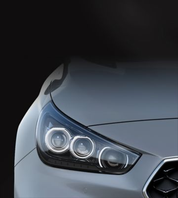 A close up view of the LED headlamps on the Hyundai i30 Fastback N.