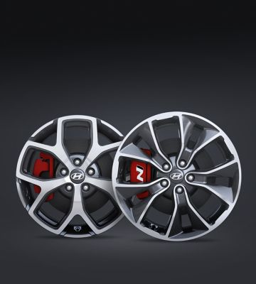 A close up view of the 18 and 19 inch alloy wheels of the Hyundai i30 Fastback N.