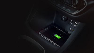 Close up view of the centrally located wireless charging pad in the Hyundai i30 Fastback N.