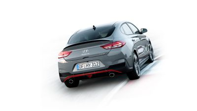 Image of the Hyundai i30 Fastback N driving around a corner.