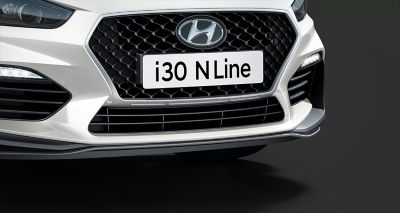 Picture of Hyundai Fastback N Line's Cascading Grille and sculpted bumper.