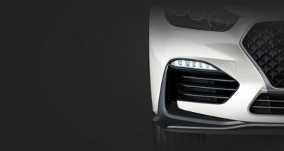 Picture of Hyundai Fastback N Line's advanced LED daytime running lights.