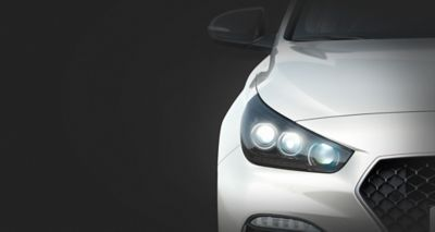 Picture of Hyundai Fastback N Line's advanced LED headlamps.