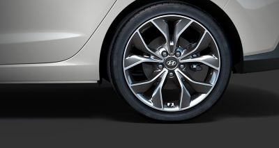 "Picture of Hyundai Fastback N Line's 18"" alloy wheels and performance tyres."