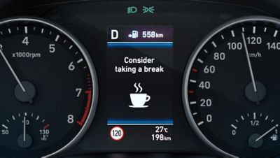 Close up image of the Intelligent Speed Limit Warning in the Hyundai i30.
