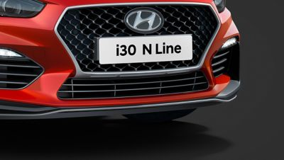 Picture of the i30 N Line's aggressive front bumper.