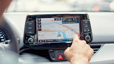 Photo of the high definition touch-screen of the new Hyundai i30 Wagon.