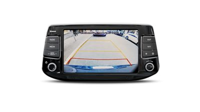 Photo of the rear-view camera of the new Hyundai i30 Wagon in operation.